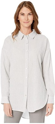 Eileen Fisher Petite Tencel Organic Cotton Crinkle Classic Collar Boxy Shirt (White) Women's Clothing