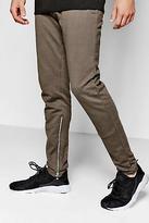boohoo NEW Mens Inner Leg Zip Detail Joggers in Khaki size L