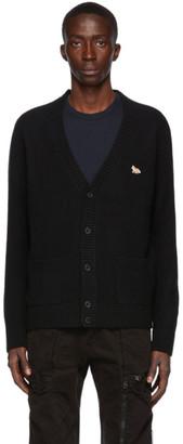 MAISON KITSUNÉ Black Wool Profile Fox Patch Cardigan