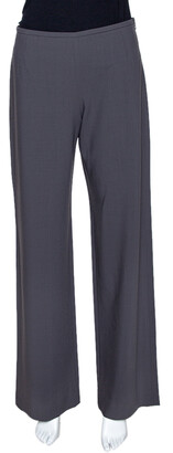 Armani Collezioni Grey Wool Wide Leg Pants S