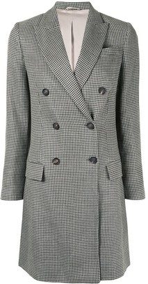 Brunello Cucinelli Double-Breasted Houndstooth Coat