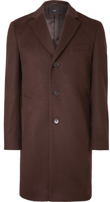 HUGO BOSS Slim-Fit Virgin Wool and Cashmere-Blend Overcoat - Men - Burgundy
