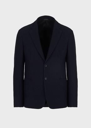 Giorgio Armani Single-Breasted Jacket In Raised Mesh