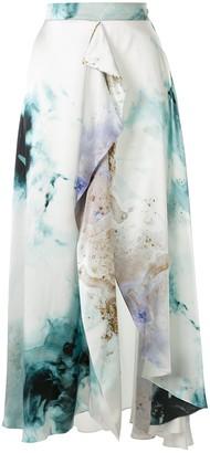 Roksanda Gold Explosion printed satin skirt