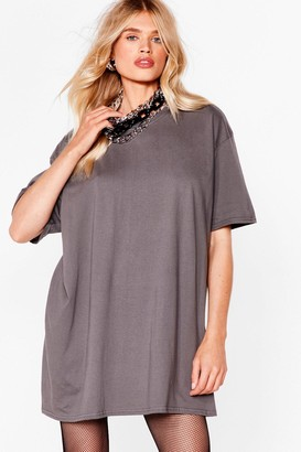 Nasty Gal Womens Easy Does It Tee Dress - Charcoal