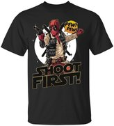 Emily Gift Shop Deadpool Shoot First Marvel Funny Comic Book Tee Shirt-Unisex