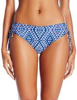 Calvin Klein Women's Diamond Medallion Side Shirred Hipster Bikini Bottom