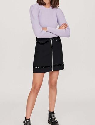 Maje Studded mini skirt with velvet trim