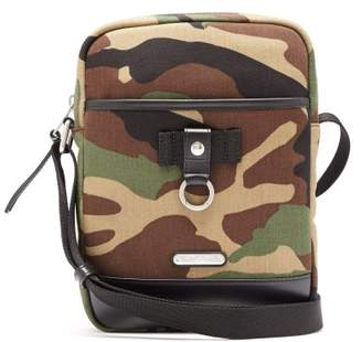 Saint Laurent Camouflage Print Canvas And Leather Cross Body Bag - Mens - Camouflage