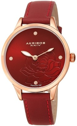 Akribos XXIV Ladies Diamond Floral Red Leather Strap Watch