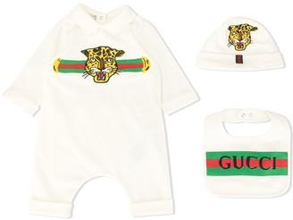 Gucci Kids Leopard Print Romper Set
