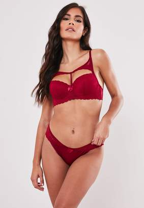 Missguided Burgundy Lace Back Bra And Knicker Set