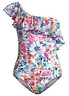 Shoshanna Women's One-Shoulder Ruffle Print One-Piece Swimsuit