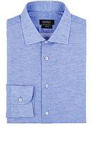 Barneys New York Men's Slub-Weave Shirt-NAVY