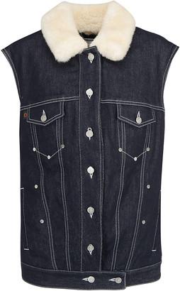 Chloé Shearling Collar Button-Up Denim Gilet