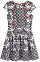 Sequin Hearts Contrast-Print Skater Dress, Big Girls (7-16)