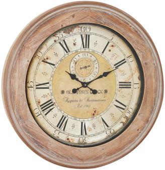 Uma Enterprises Oversized Round Antique Beige Wood Wall Clock