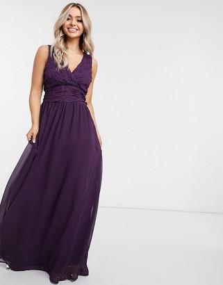 AX Paris plunge panelled maxi dress in plum