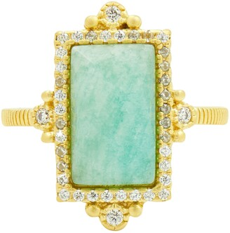 Freida Rothman 14K Gold Plated Sterling Silver CZ & Amazonite Cocktail Ring
