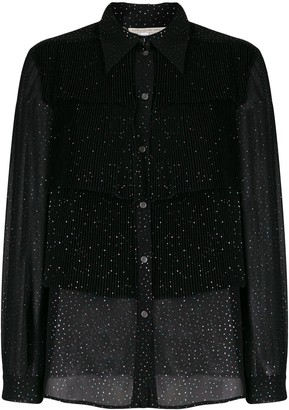 Marco De Vincenzo Sheer Glitter-Embellished Shirt