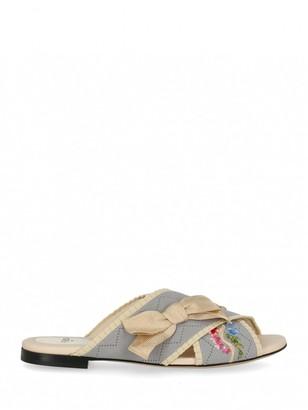 Fendi Grey Cloth Sandals