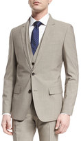 BOSS Huge Genius Slim Houndstooth Three-Piece Wool Suit, Tan
