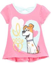 Children's Apparel Network Secret Life of Pets Pink Ruffle Cap-Sleeve Tee - Toddler