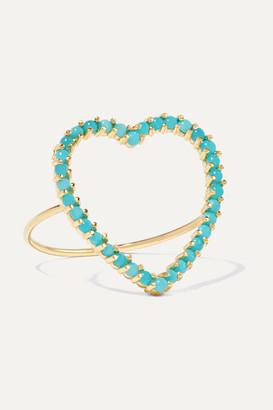 Jennifer Meyer Open Heart 18-karat Gold Turquoise Ring - 5