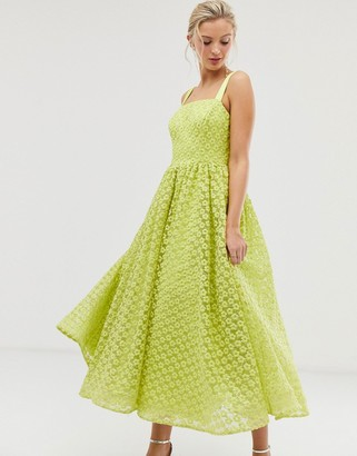 Dolly & Delicious square neck textured midaxi prom dress in neon lime