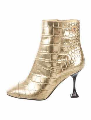 Chanel Interlocking CC Logo Leather Boots Gold