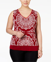 INC International Concepts Plus Size Printed Tank Top, Only at Macy's