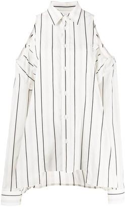 Maison Margiela Off-The-Shoulder Striped Shirt