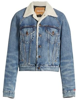Denimist Exeter Faux Shearling Collar & Lining Denim Trucker Jacket