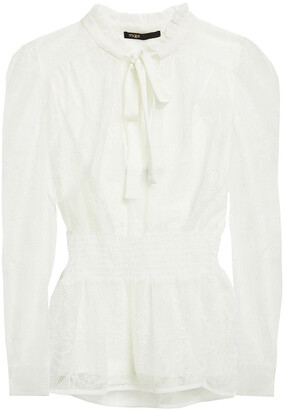 Maje Pussy-bow Corded Lace Blouse