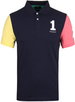 Hackett Numbered Navy Colour Block Slim Fit Polo Shirt