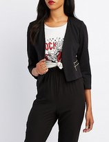 Charlotte Russe Zipper-Trim Collarless Blazer