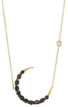 Renee Lewis 18K Yellow Gold & Sapphire Crescent Necklace