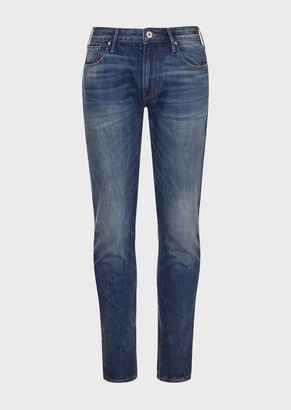 Emporio Armani J06 Slim-Fit, Dirty-Denim Jeans