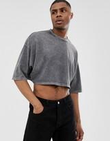 Asos Design DESIGN cropped oversized t-shirt with half sleeve in acid wash