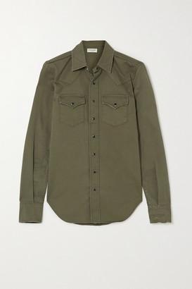 Saint Laurent Herringbone Cotton Shirt - Green