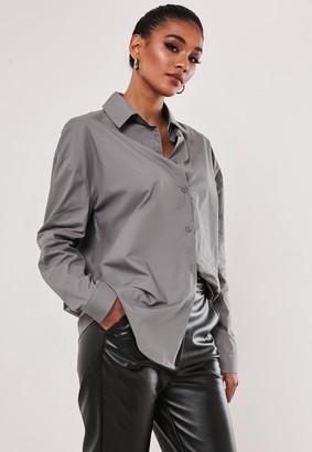 Missguided Grey Extreme Oversized Poplin Shirt