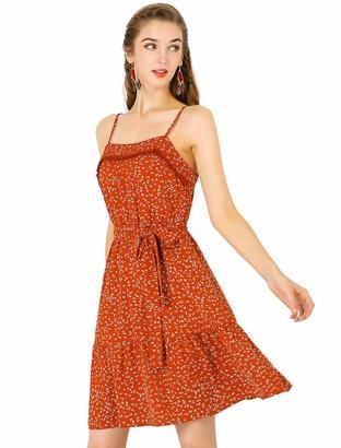 Allegra K Women's Spaghetti Strap Ruffled Hem Belted Chiffon A-Line Floral Dress XS Red