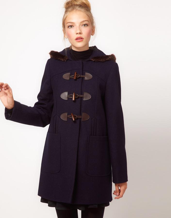 Asos Fur Trim Duffle Coat