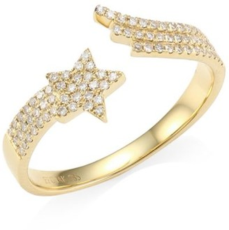 Ef Collection 14K Yellow Gold & Diamond Shooting Star Ring