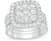 Zales 3-1/2 CT. T.W. Composite Diamond Cushion Frame Three Piece Bridal Set in 14K White Gold