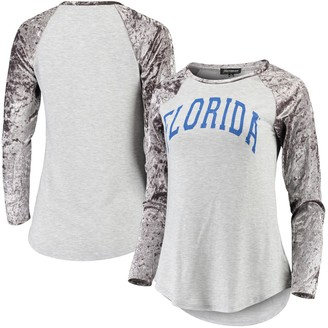 Women's Gray Florida Gators A Little Bit Softer Now Crushed Velvet Raglan Long Sleeve T-Shirt