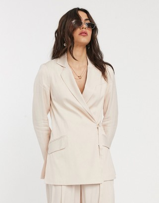Topshop striped blazer in blush pink co-ord