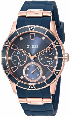 GUESS Gold-Tone + Iconic Red Stain Resistant Silicone Watch with Day Date + 24 Hour Military/Int'l Time. Color: Red (Model: U1157L2)