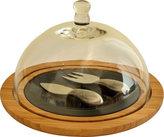 Picnic at Ascot Provence Glass Dome Bamboo/Slate Cheese Set