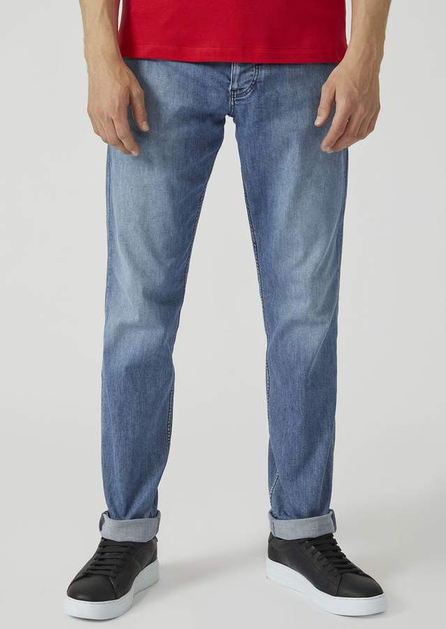 Emporio Armani J75 Regular Fit Stone-Washed Denim Jeans